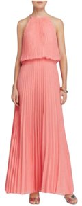 Aqua Halter Crystal Pleated Guava Dress