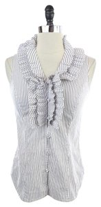 White House | Black Market Sleeveless Ruffle Neck Shirt Top White
