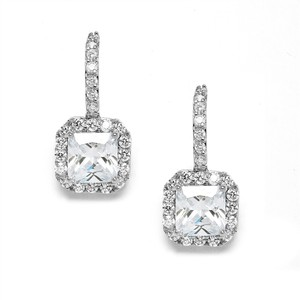 Mariell Silver Radiant Cut Cubic Zirconia Drop Prom Or Bridesmaids 3609e Earrings