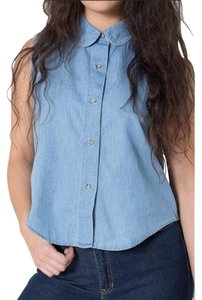 American Apparel Crop Cute Fall Button Up Button Down Shirt Denim