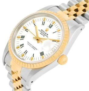 Rolex Rolex Date Mens Steel 18k Yellow Gold White Dial Watch 15223