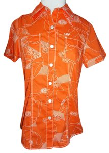 Cruel Girl 100%cotton Orange/white Brand New Fitted Button Down Shirt orange/white stiching