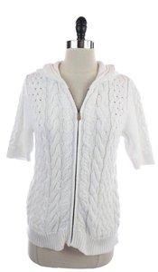 Magaschoni Cotton Cableknit Zip Up Sweater