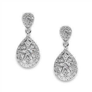Mariell Silver Vintage Etched Cz Or Bridesmaids Drop 3649e Earrings
