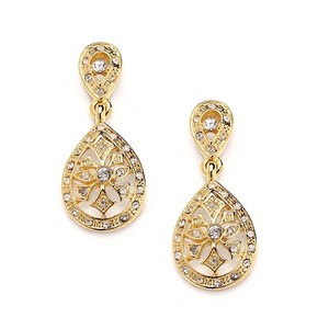 Mariell Vintage Etched Cz Wedding Or Bridesmaids Gold Drop Earrings 3649e