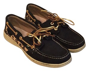Sperry black, leopard, and gold Flats