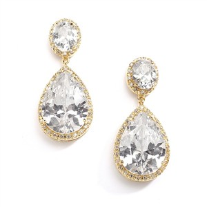 Mariell Mariell Cz Drop Wedding Earrings 2074e