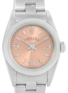 Rolex Rolex Oyster Perpetual Nondate Ladies Steel Salmon Dial Watch 76080