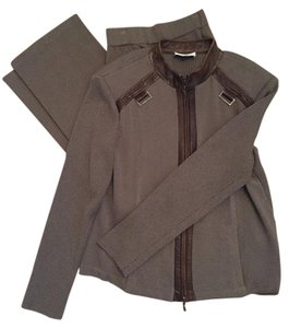St. John St. John Santana Knit Pants and Jacket With Leather Trim