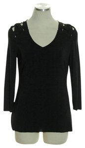 Catherine Malandrino Knit 3/4 Sleeve V-neck Stretchy Top Black
