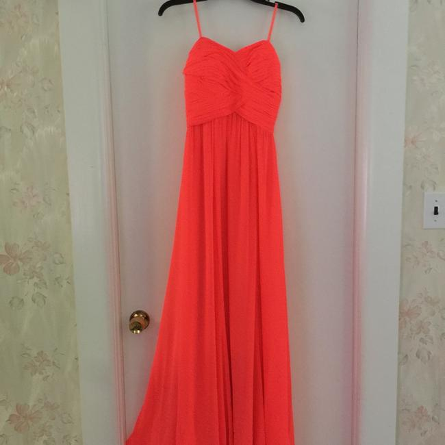 Item - Coral Polyester Maxi Formal Bridesmaid/Mob Dress Size 2 (XS)