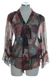 Haute Hippie Woven 3/4 Sleeve Silk Print Floral Top Multicolor