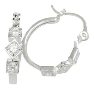 Other Diamond CZ Shape Round Hoop Earrings Omega Closure