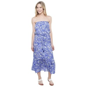 Cobalt Blue/ Cream/ Chartreuse Maxi Dress by Vineyard Vines Silk Comfortable Maxi