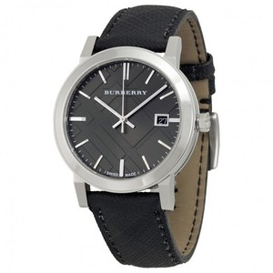 Burberry BRAND NEW MENS BURBERRY (BU9030) BLACK SWSS LEATHER GREY DIAL WATCH