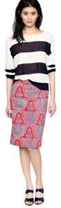 J.Crew Paisley Print Pencil Woven Skirt Red Blue