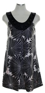 Milly of New York short dress Black Pink Silk Sleeveless Woven Floral on Tradesy