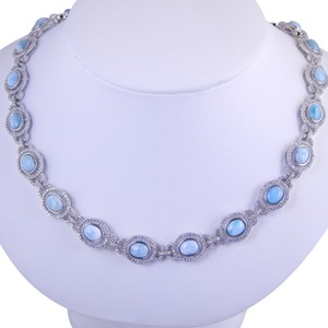Custom-Made EXQUISITE LARIMAR NECKLACE WITH 22 STONES SURROUNDED BY HALO DESIGN