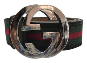 Gucci Gucci Canvas and Leather Belt