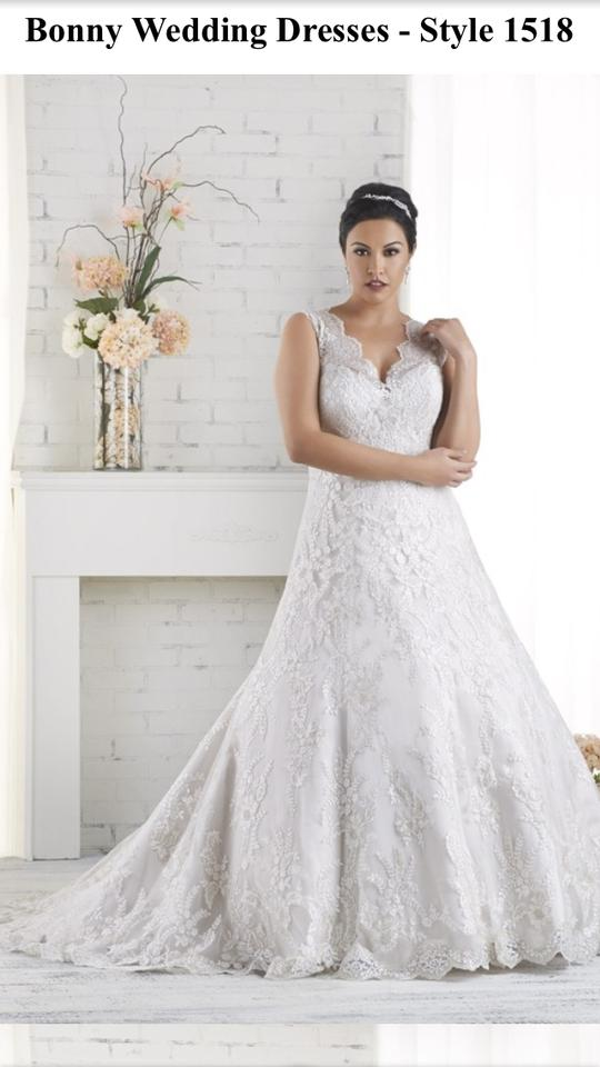Bonny Bridal Ivory/Cafe/Silver Satin with Lace Overlay Formal ...