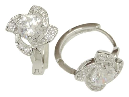 Other CZ Modern Classic Small Hoop Earrings w/Stud Design