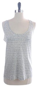 J.Crew White Clear Sequins Top Blue