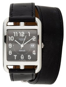 Hermès Hermes Watch Cape Cod Double Tour Leather Strap Black Dial Auto Automatic GM TGM Barenia Calfskin Date Stainless Steel