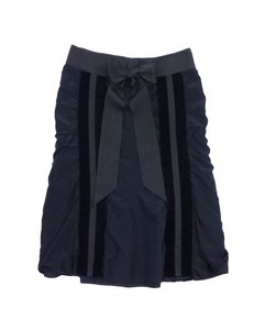 Saint Laurent Black Velvet Trim Silk Skirt