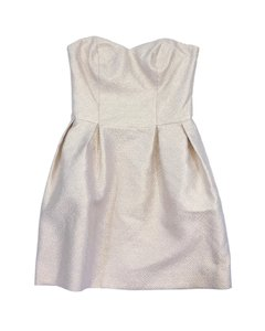 Amanda Uprichard short dress Cream Gold Print Strapless on Tradesy