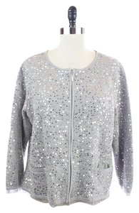 Chico's Gray Sequin Ruffle Sweater