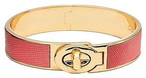 Coach Coach Half Inch Hinged Saffiano Leather Turnlock Bangle