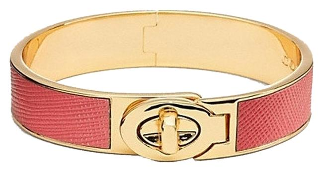 Coach Loganberry/Gold Half Inch Hinged Saffiano Leather Turnlock Bangle Bracelet Coach Loganberry/Gold Half Inch Hinged Saffiano Leather Turnlock Bangle Bracelet Image 1