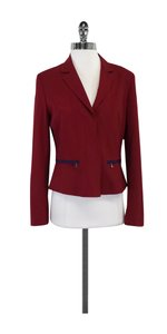 Elie Tahari Red & Navy Accent Structured Blazer