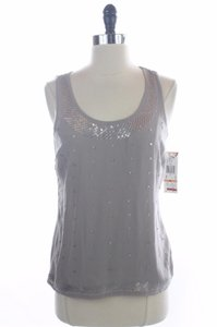 Anne Klein Sequlin Sleeveless Top Gray