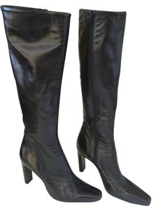 Ellen Tracy Classic Italian Made Leather High-heeled Black Boots