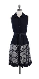 Oscar de la Renta short dress Navy & White Floral Linen Shirt on Tradesy