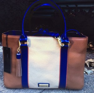 BCBGMAXAZRIA Satchel in Brown/blue/creme Combo