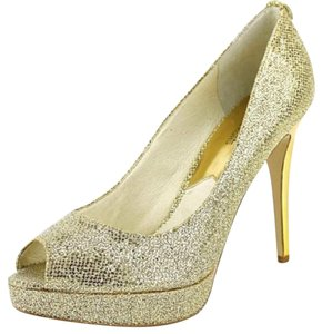 Michael Kors Designer Open Toe Gold Pumps