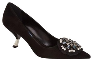 Prada Jimmy Choo Embellished Black Pumps