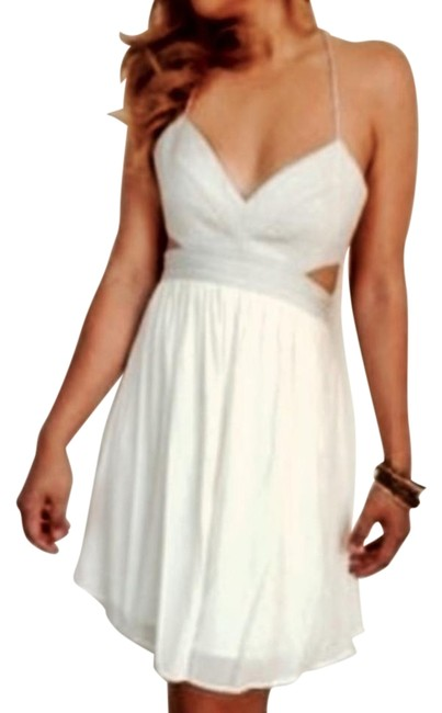 Item - Silver and White Cutout Backless Mid-length Cocktail Dress Size 6 (S)