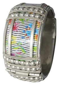 Autumn Enclosed Floral Abstract Silver Bracelet Cuff,