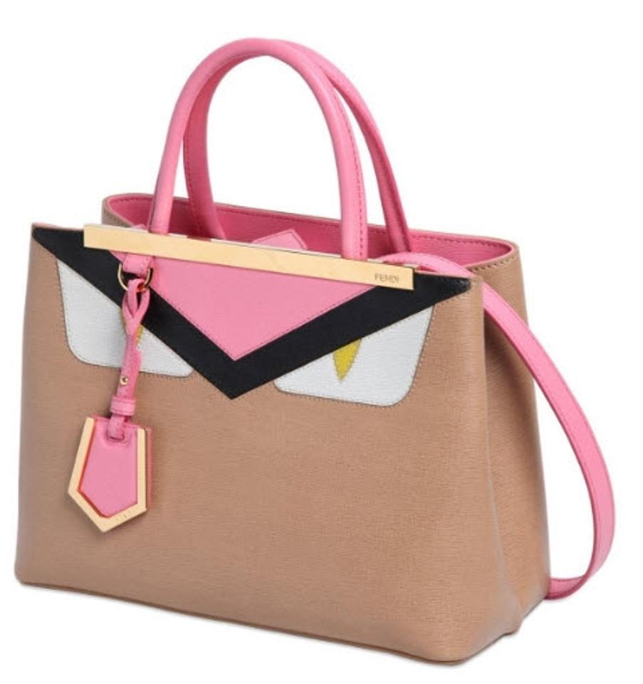 6c3f5b58a305 Fendi Petite 2jours Monster Eyes Bugs Buggie Beige Tan Pink Multicolor Leather  Tote