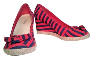 ShoeDazzle Red And Blue Wedges