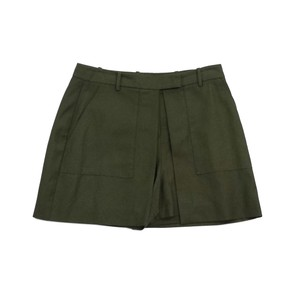 Theory Army Green Cotton Blend Shorts
