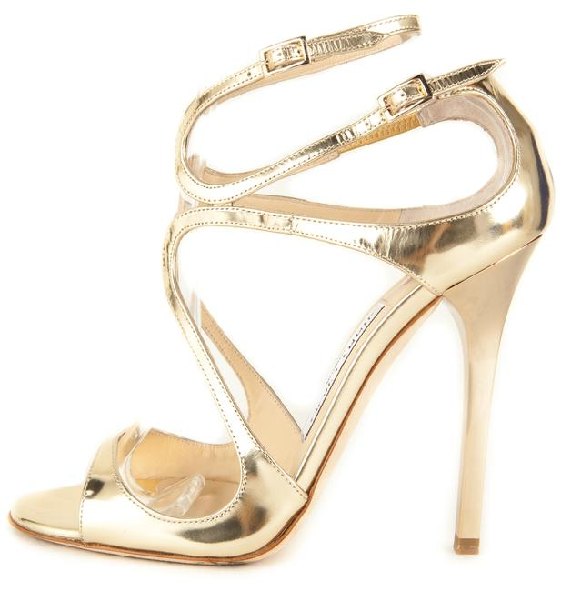 """Item - Gold Mirror Leather Strappy """"Lance"""" Sandals Size US 7"""