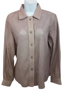 CUEROS Leather Pink Blouse Button Down Shirt