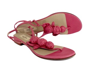 Valentino Pink Leather Rosette Sandals