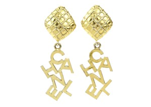 Chanel Vintage Gold Alphabet Clip On Earrings