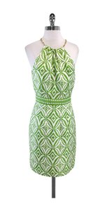 MILLY short dress Green & White High Neck Chain on Tradesy