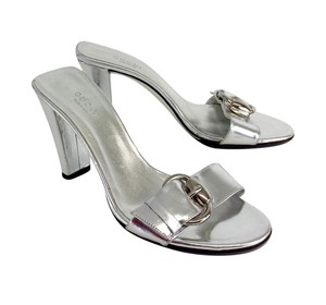Gucci Silver Patent Leather Sandal Sandals